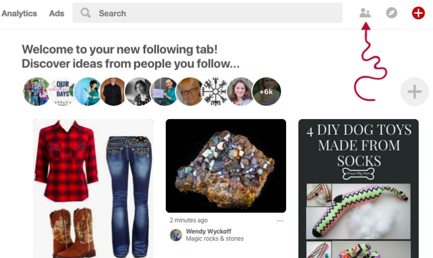 How to find the new following tab on pinterest | MiloTree.com