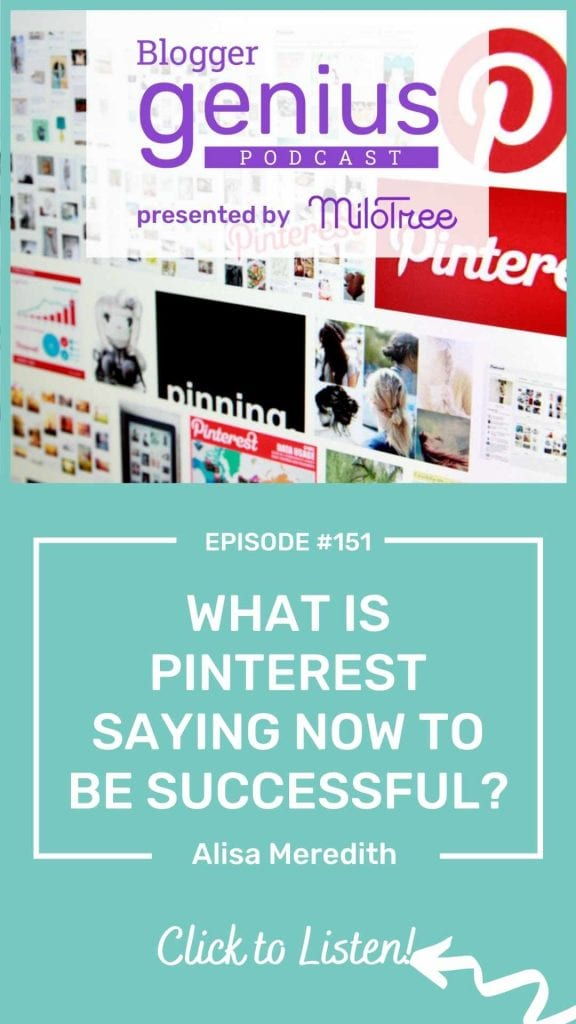 What is Pinterest Saying Now to Be Successful on PInterest and Drive Traffic to your Blog? Listen to this episode of The Blogger Genius Podcast with Jillian Leslie to learn more!   MiloTree.com #socialmediamarketing