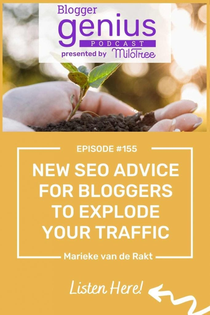 Want New SEO Advice for Bloggers to Explode Their Traffic? Listen to this episode of The Blogger Genius Podcast with Jillian Leslie to learn what's important today! Brought to you by MiloTree.com.