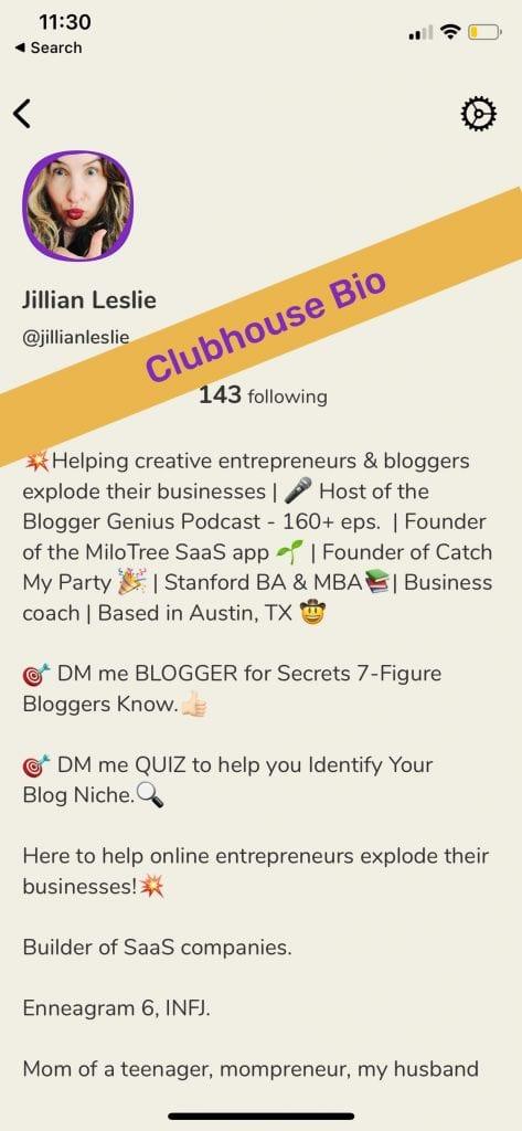 Jillian Leslie Clubhouse Bio Example | MiloTree
