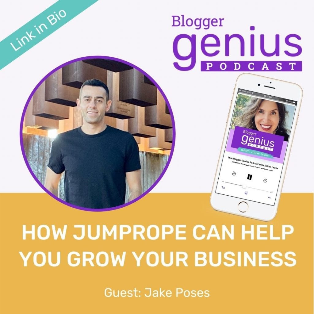 Ready to see how Jumprope can help you grow your business? Listen to this new episode of The Blogger Genius Podcast with Jillian Leslie to find out all about this exciting new tool and platform. | MiloTree.com