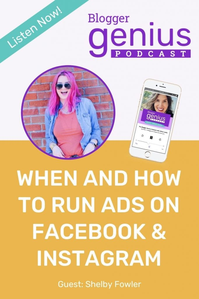 If you've ever wondered when and how to run ads on Facebook and Instagram, don't miss my episode of The Blogger Genius Podcast with Jillian Leslie. I'm interviewing ads, expert Shelby Fowler. Wee talk about how to have success with ads. | MiloTree.com